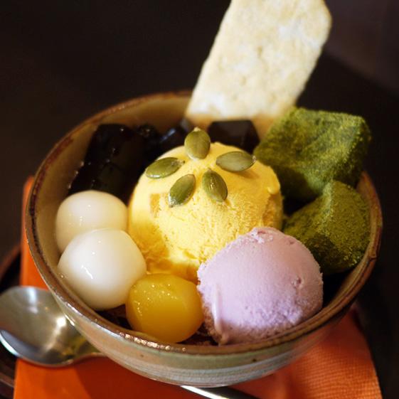"Matcha & sweet potato jar parfait from ""Oimo Cafe Kanaria"""