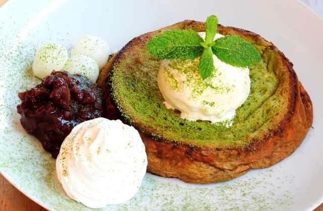 "Japanese-styled matcha french toast from ""Roomlax Cafe"""