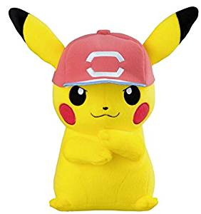 Pokemon Sun & Moon Big stuffed toy Pikachu and Satoshi's hat